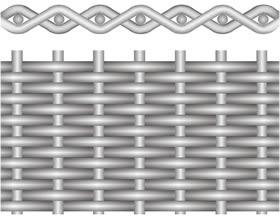 A drawing of plain dutch weave woven wire mesh on the white background.