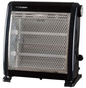 A black heater with expanded metal sheet cover.