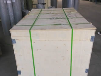 Crime safe mesh is packed with wooden box and green bailing strips.
